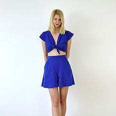 Royal blue tie up top and shorts set