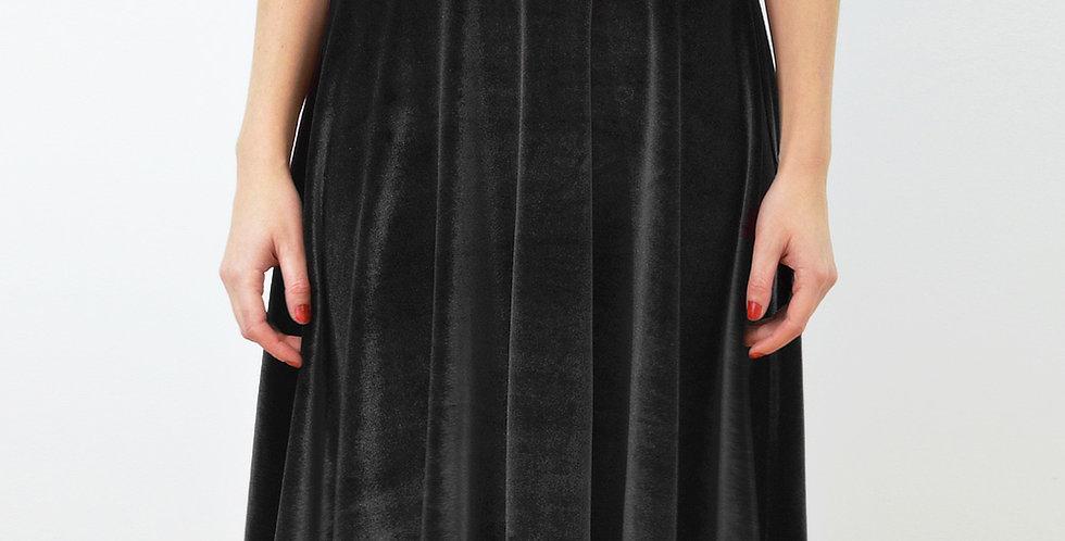 High Waisted Circle Skirt in Black Velvet