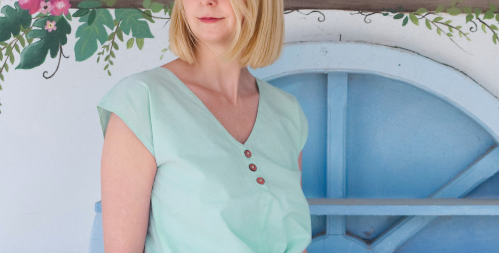 LANA | Vintage Style Tie-Up Chambray Blouse in Mint Green