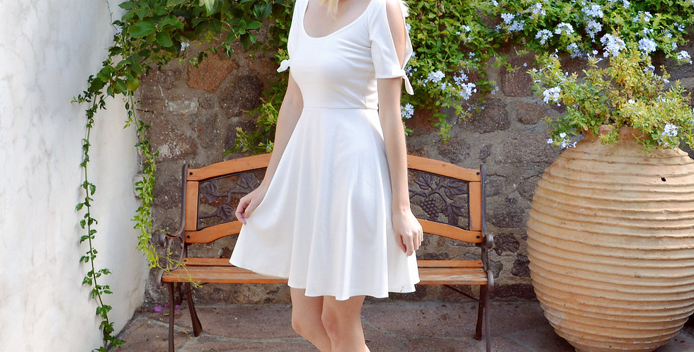 Nanette White Summer Dress with Scoop Neck