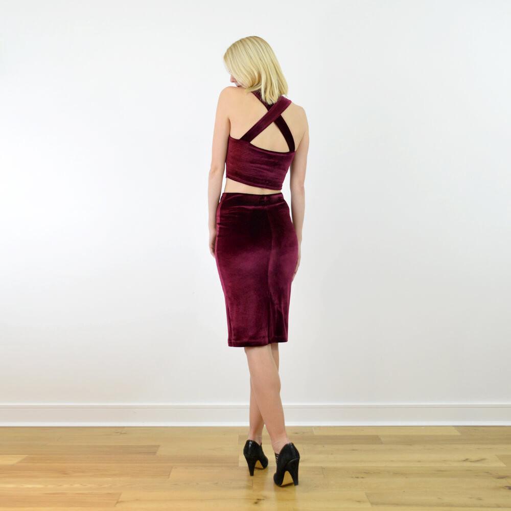 Kirsten red velvet bralet and pencil skirt set