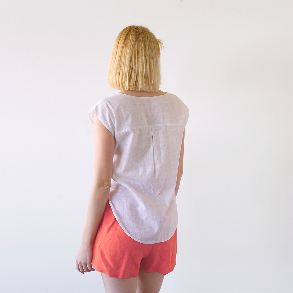 Back view with yoke and pleat detail of Lana blouse