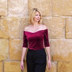 Red velvet off shoulder top