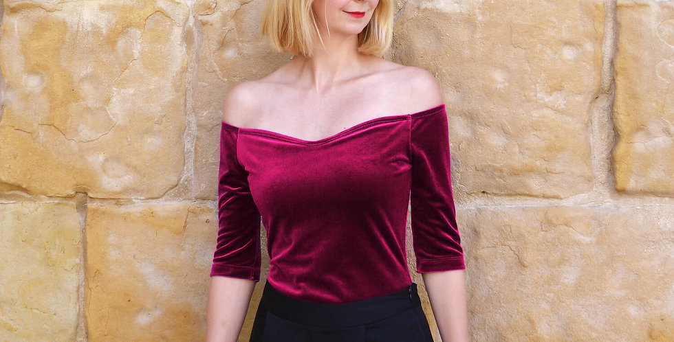Elegant Red Velvet Off Shoulder T-Shirt