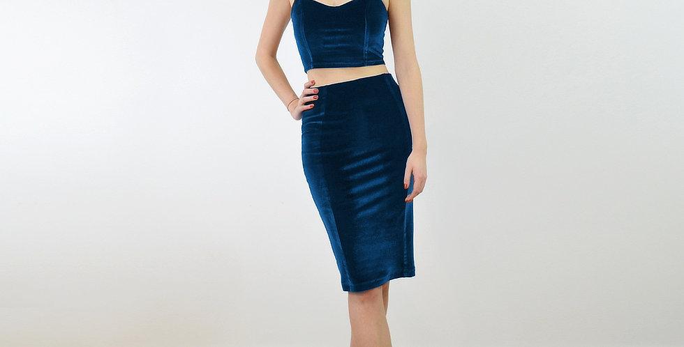 KIRSTEN | Crop Top and Pencil Skirt Set in Navy Blue Velvet