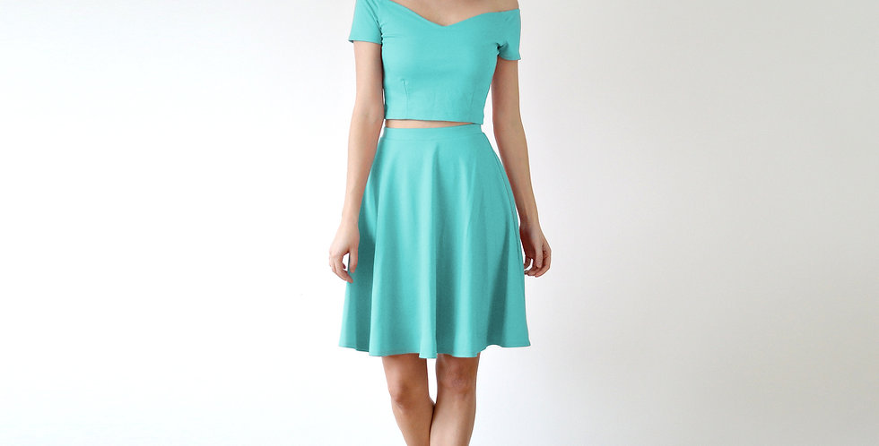 Off Shoulder Two Piece Co-Ord Set in Mint Green