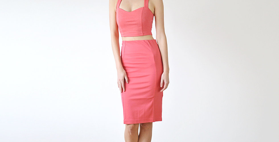 Kirsten Summer Jersey Co-Ord in Coral Pink full front view