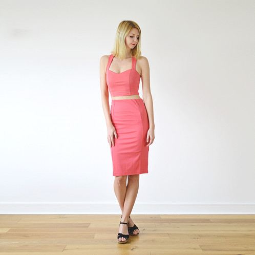 0b32066eb503 Kirsten Summer Jersey Crop Top and Pencil Skirt Co-Ord in Coral Pink