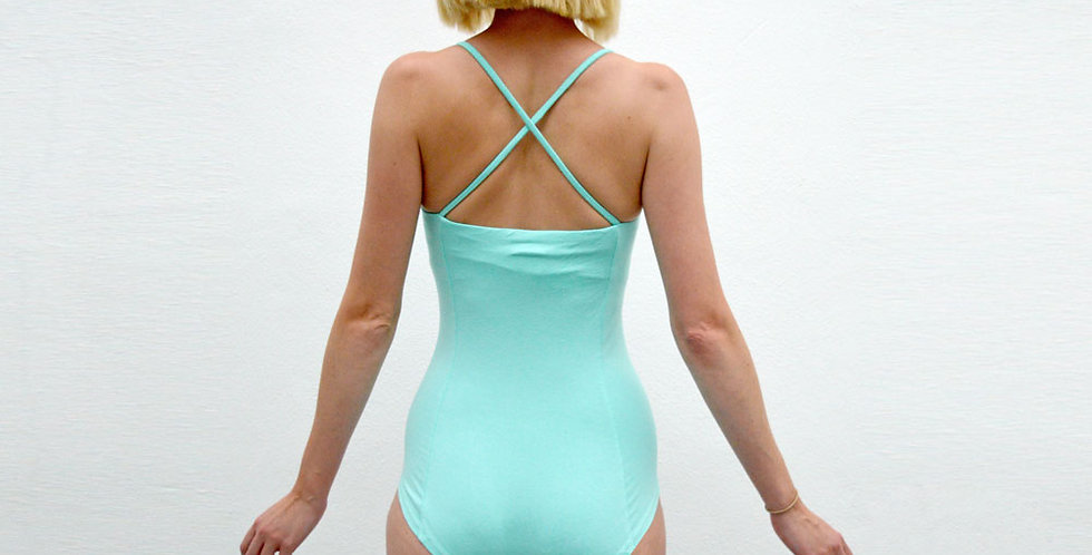 UNA | Pastel Mint Sweetheart Bodysuit with Crossover Straps