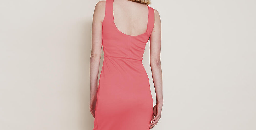 Marilyn Scoop Back Pencil Dress in Coral Pink back view