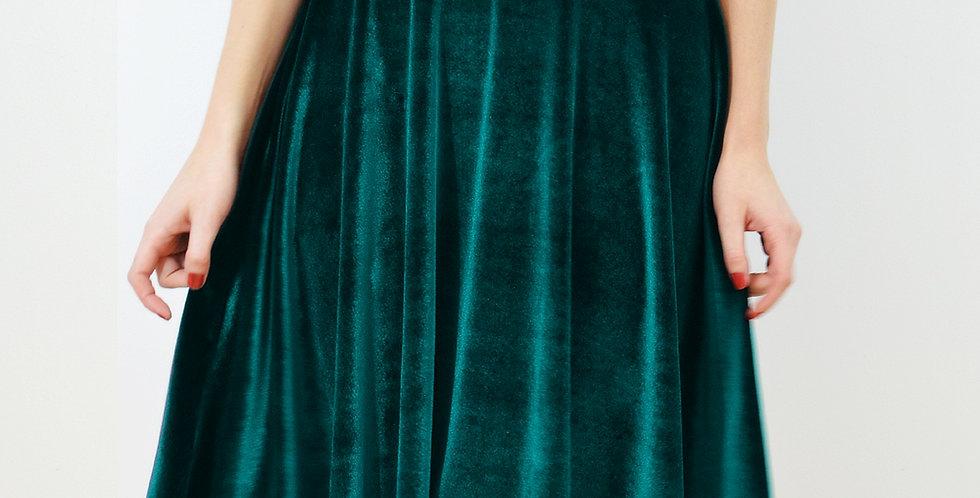 High Waisted Midi Skater Skirt in Green Velvet
