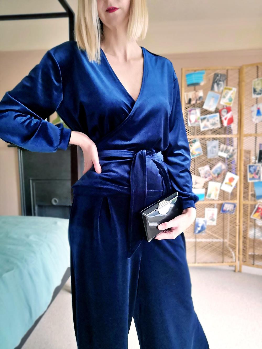 Two piece velvet jumpsuit party outfit