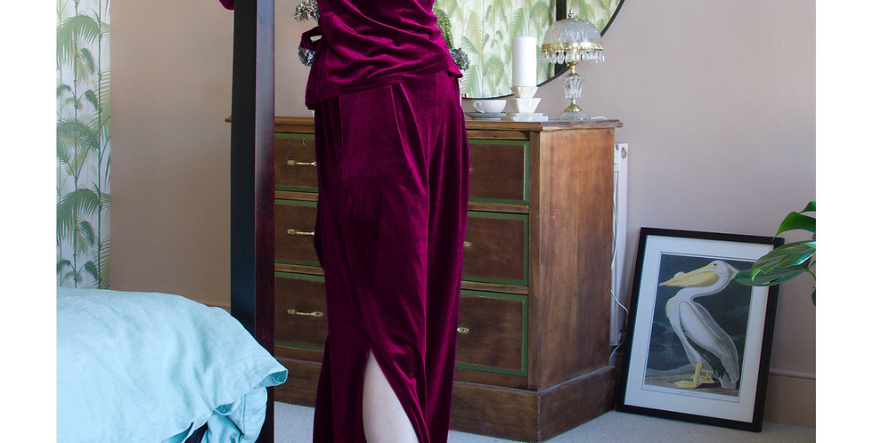 LOUNGEWEAR SET   Red Velvet Two Piece Top & Trousers Set