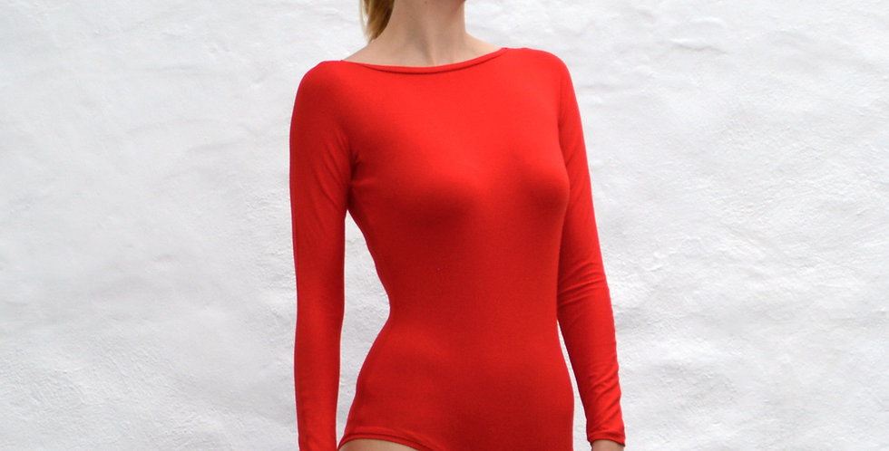 Sabrina Long Sleeve Red Bodysuit for Women with Vintage Slash Neckline front view