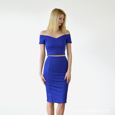 factory authentic 100% top quality in stock PENCIL SKIRT | Pin-Up Knee Length Skirt in Royal Blue