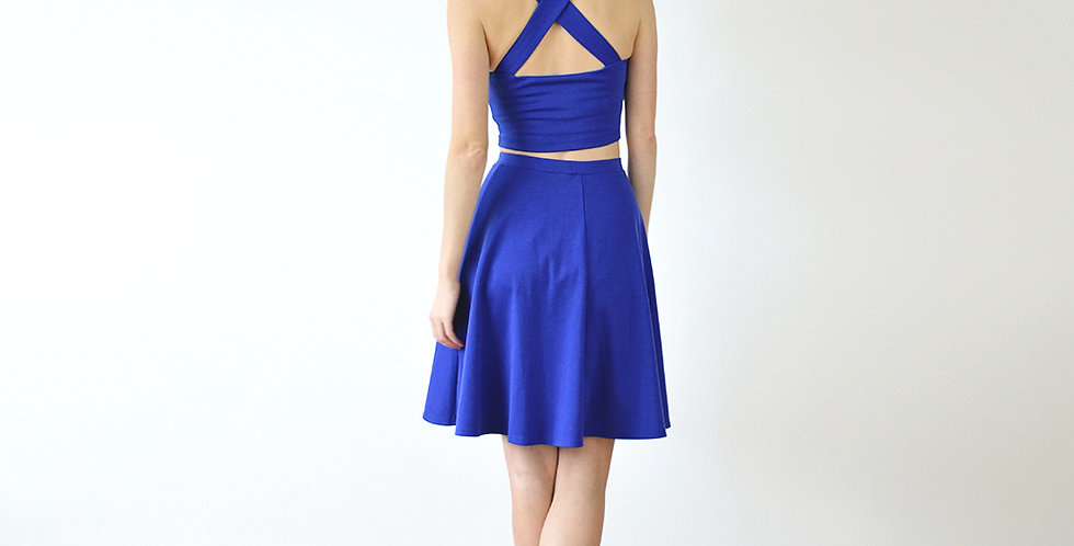 Royal Blue Summer Crop Top and Skater Skirt Co Ord full back view