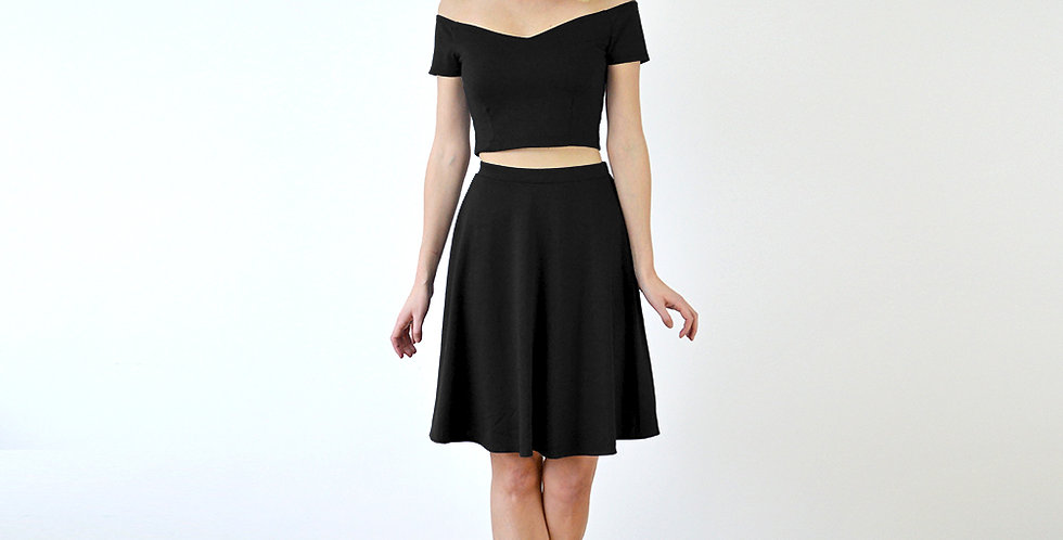 Coco Two Piece Midriff Co Ord Set in Black full front view
