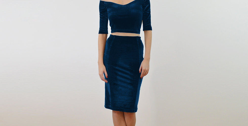 Velvet Off Shoulder Top and Pencil Skirt Set in Navy Blue