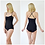 Una Women's Sexy Black Stretch Bodysuit with Spaghetti Strap Top front and back view
