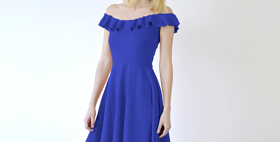 Ginger Ruffle Neck Off Shoulder Dress front view