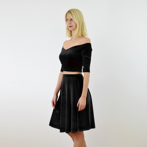 c9f7d49d6 ... Coco Black Velvet Long Sleeve Crop Top and Skater Skirt Dress Set close  up front view