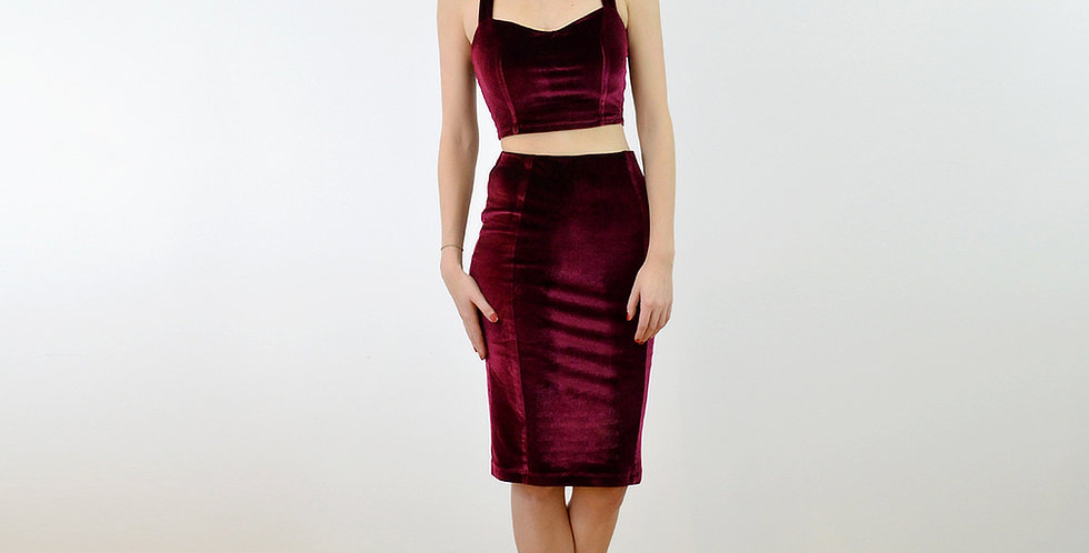 KIRSTEN | Red Velvet Strappy Crop Top and Pencil Skirt Set