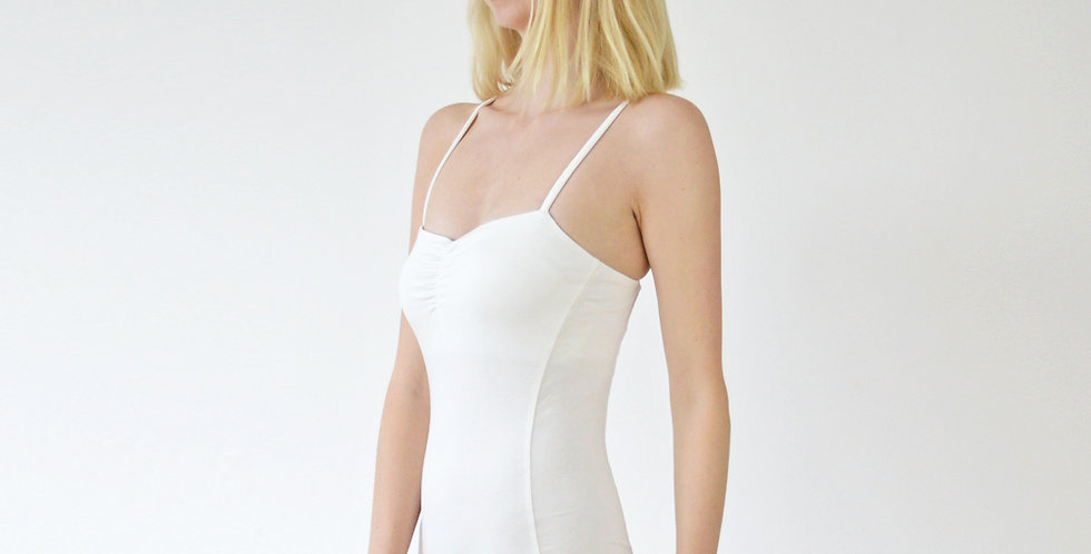 Una Ladies Body Contour Strappy White Bodysuit with Spaghetti Straps close up side view