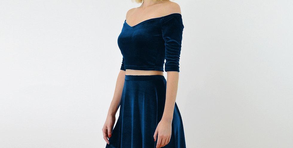 Navy Velvet Off Shoulder Top and Skirt Set