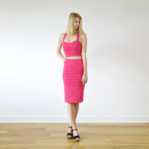 8d50fde7494f Kirsten Vintage Style Pencil Skirt Set in Hot Pink full front view ...
