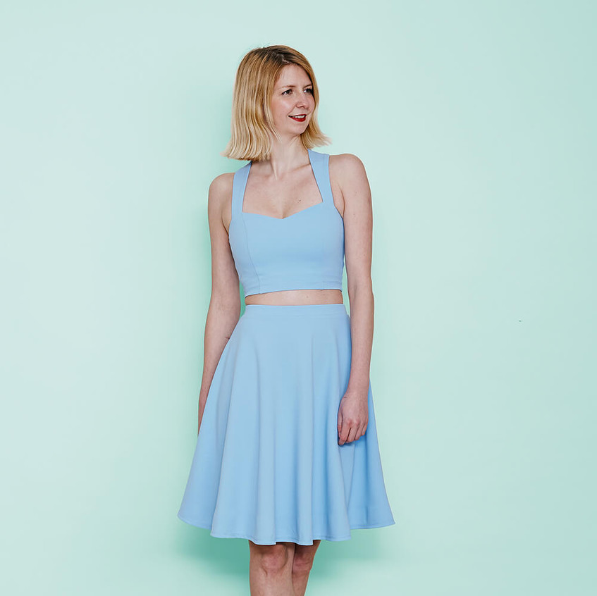 With sweetheart crop top and skater skirt in pastel blue