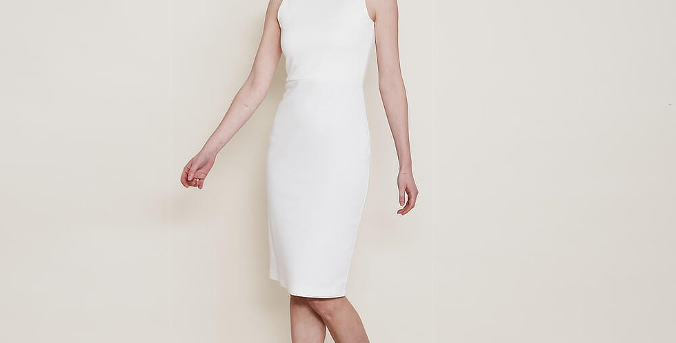 Marilyn 1940s Hourglass Pencil Dress in White