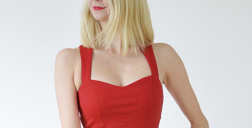 Strappy Sweetheart Bralet in Red front view