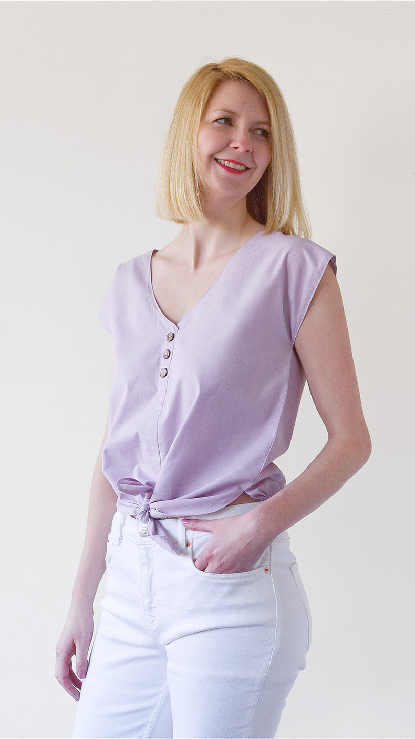 Lana tie front blouse - lilac
