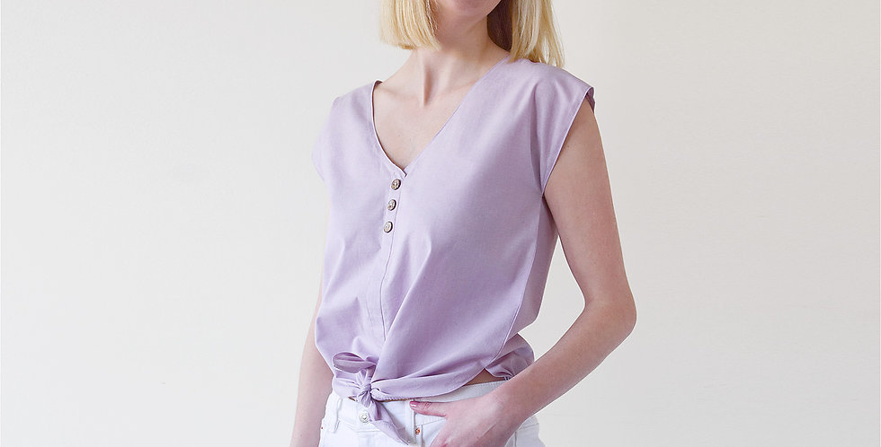 Lana Tie Up Cropped Chambray Blouse in Lilac