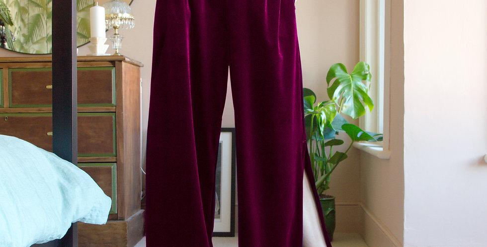 HEPBURN | Elegant Red Velvet Lounge Trousers