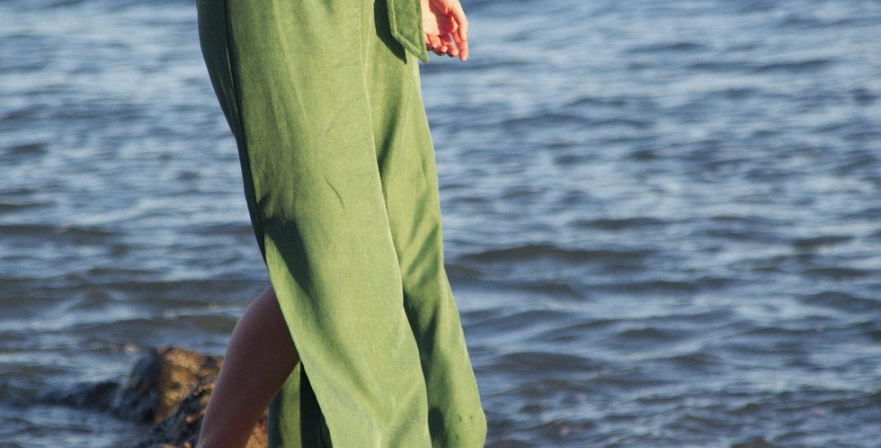 HEPBURN | Silky Cupro High Waisted Summer Trousers in Olive Green
