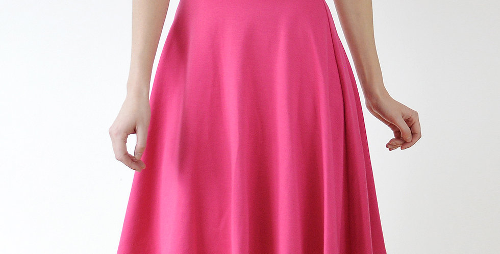 Riviera Style Knee Length Skater Skirt in Hot Pink back view
