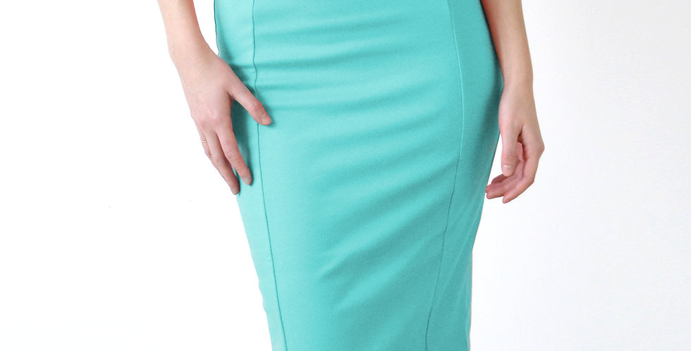 High Waisted Fitted Pencil Skirt in Mint Green