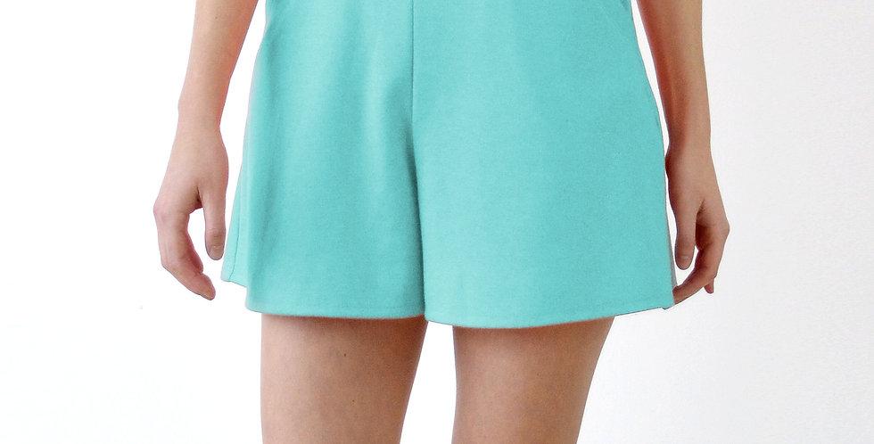 CULOTTES   High Waist Flared Shorts in Mint Green