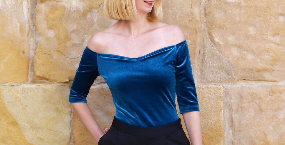 Velvet Off Shoulder T-Shirt in Teal Blue