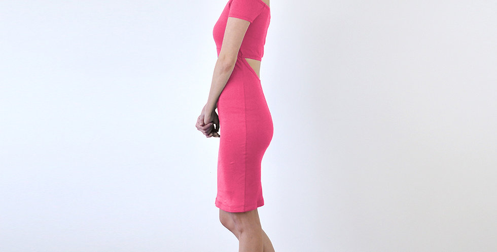 Bardot Style Midi Pencil Dress in Hot Pink full side view