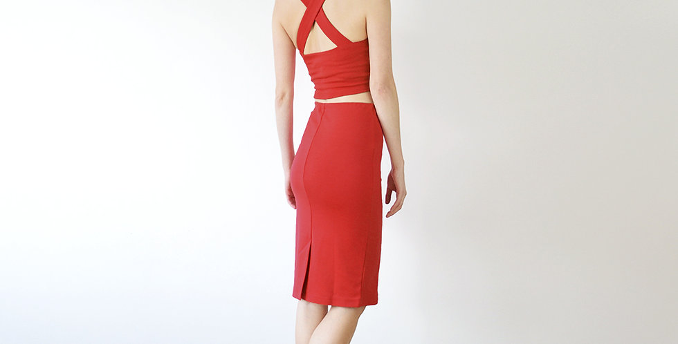 Kirsten Vintage Inspired Two Piece Set in Red full back view