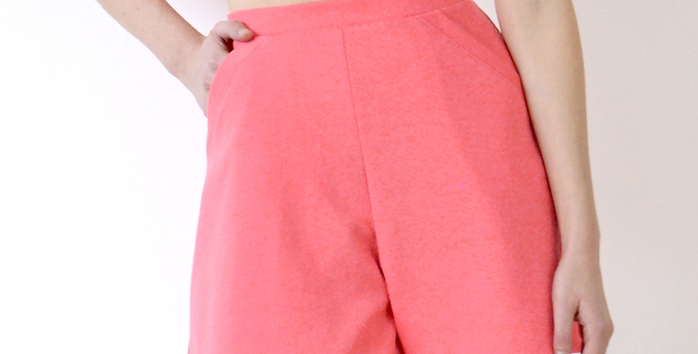Riviera Style High Waist A-Line Shorts in Coral Pink front view