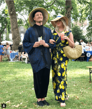 Alex does 1930s in Style for the Chap Olympiad in Stylecamp's Lemon Print Marlene jumpsuit - photo c/o Wasted Chic