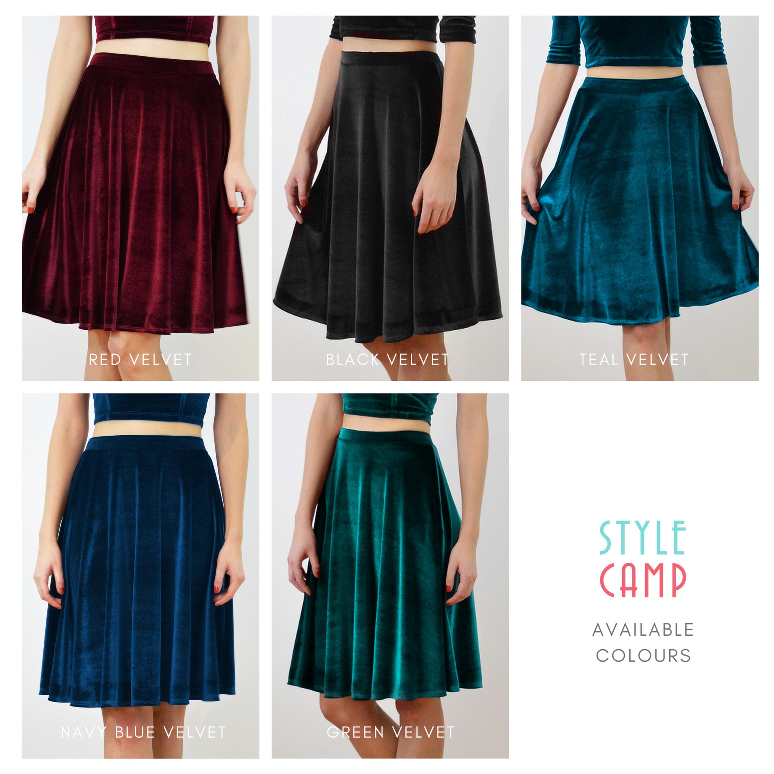 Knee Length Flared Velvet Skirt In Teal Blue Velvet