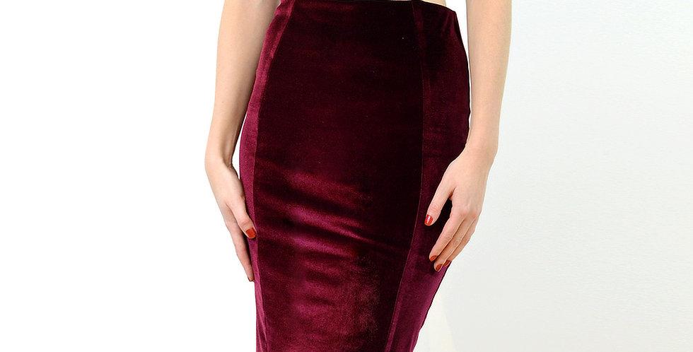 High Waist Velvet Wiggle Skirt in Red