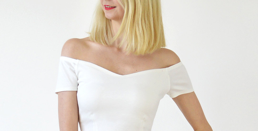 Women's Fitted Crop Top in White front view