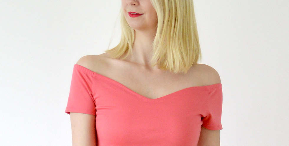 Vintage Style Off Shoulder Cropped Top in Coral Pink front view