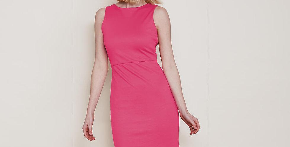 Marilyn Knee Length Pencil Dress in Fuchsia Pink