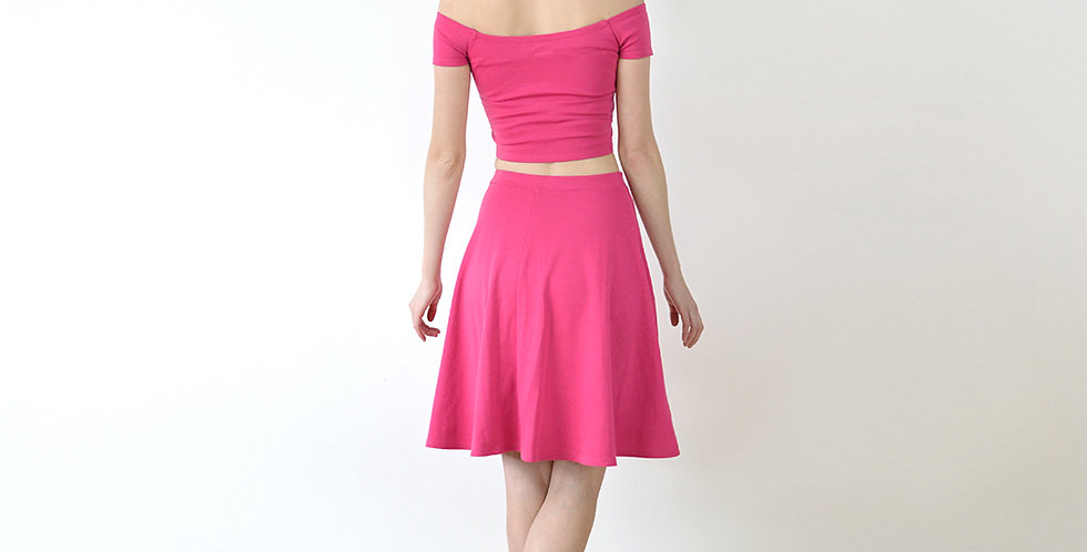 Coco Riviera Style Crop Top and Skirt Set in Hot Pink full back view